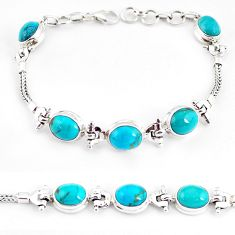 20.22cts natural green turquoise tibetan 925 silver tennis bracelet p54800