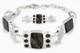 Natural grey meteorite gun metal moonstone 925 sterling silver bracelet h92999