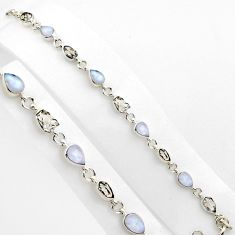 24.66cts natural herkimer diamond moonstone 925 silver tennis bracelet p89153