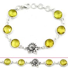 Natural lemon topaz 925 sterling silver link bracelet jewelry h70145