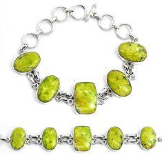 63.08cts natural lizardite (meditation stone) 925 silver tennis bracelet p46026