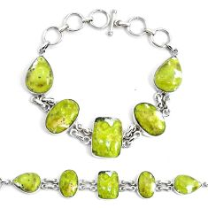 54.46cts natural lizardite (meditation stone) 925 silver tennis bracelet p46028