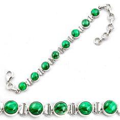 21.22cts natural malachite (pilot's stone) 925 silver tennis bracelet p87832