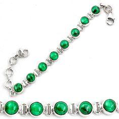 21.22cts natural malachite (pilot's stone) 925 silver tennis bracelet p87833
