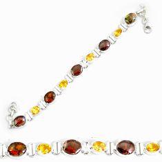 30.22cts natural multi color ammolit 925 silver tennis bracelet p64382