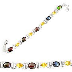 26.20cts natural multi color ammolite 925 silver tennis bracelet p64395
