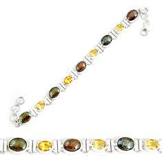 26.84cts natural multi color ammolite citrine 925 silver tennis bracelet p64396