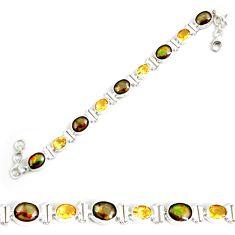28.30cts natural multi color ammolite citrine 925 silver tennis bracelet p64398