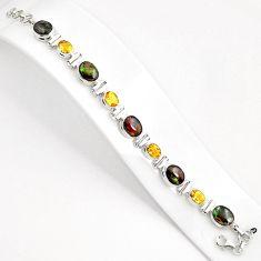 29.90cts natural multi color ammolite citrine 925 silver tennis bracelet p80461