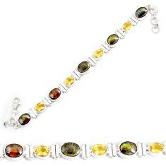 29.55cts natural multi color ammolite oval 925 silver tennis bracelet p64391