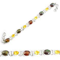 29.22cts natural multi color ammolite oval 925 silver tennis bracelet p64393