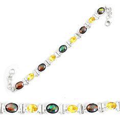 28.62cts natural multi color ammolite oval 925 silver tennis bracelet p64394