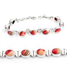 30.07cts natural multi color brecciated jasper 925 silver tennis bracelet p40053