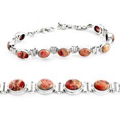 30.41cts natural multi color brecciated jasper 925 silver tennis bracelet p40054