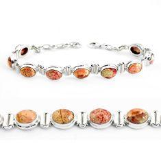 30.65cts natural multi color brecciated jasper 925 silver tennis bracelet p40055
