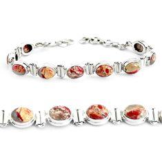 30.65cts natural multi color brecciated jasper 925 silver tennis bracelet p40056