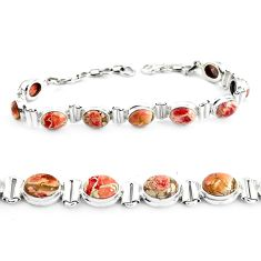 30.41cts natural multi color brecciated jasper 925 silver tennis bracelet p40058