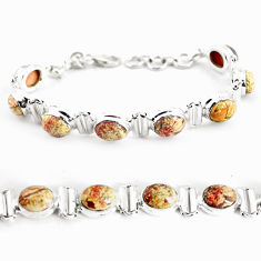 27.95cts natural multi color brecciated jasper 925 silver tennis bracelet p64485