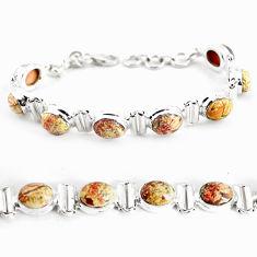 27.95cts natural multi color brecciated jasper 925 silver tennis bracelet p64485