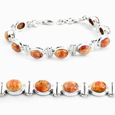 31.50cts natural multi color brecciated jasper 925 silver tennis bracelet p64486