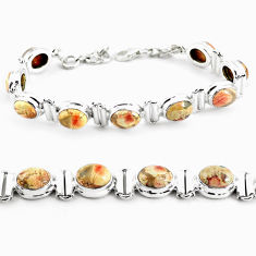 31.15cts natural multi color brecciated jasper 925 silver tennis bracelet p64487