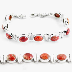 30.43cts natural multi color brecciated jasper 925 silver tennis bracelet p64489