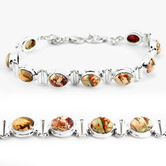 31.17cts natural multi color brecciated jasper 925 silver tennis bracelet p64490