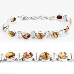 31.17cts natural multi color brecciated jasper 925 silver tennis bracelet p64490
