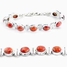 31.50cts natural multi color brecciated jasper 925 silver tennis bracelet p64491