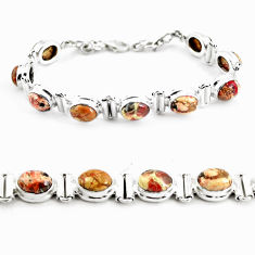 30.05cts natural multi color brecciated jasper 925 silver tennis bracelet p64492