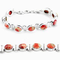 28.89cts natural multi color brecciated jasper 925 silver tennis bracelet p64494