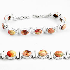 29.84cts natural multi color brecciated jasper 925 silver tennis bracelet p64495