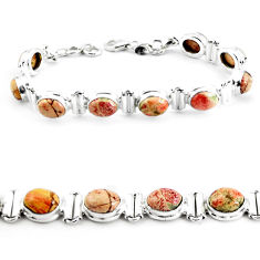 29.84cts natural multi color brecciated jasper 925 silver tennis bracelet p64497