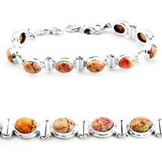 29.84cts natural multi color brecciated jasper 925 silver tennis bracelet p64497
