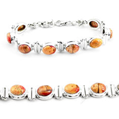 25.89cts natural multi color brecciated jasper 925 silver tennis bracelet p64499