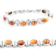 25.89cts natural multi color brecciated jasper 925 silver tennis bracelet p64499