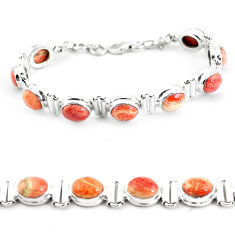 29.52cts natural multi color brecciated jasper 925 silver tennis bracelet p64500