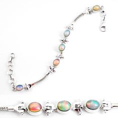 10.61cts natural multi color ethiopian opal 925 silver tennis bracelet p54743