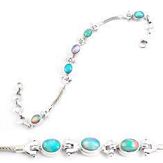 10.60cts natural multi color ethiopian opal 925 silver tennis bracelet p54745