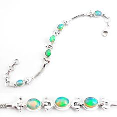 10.61cts natural multi color ethiopian opal 925 silver tennis bracelet p54746