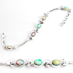 10.42cts natural multi color ethiopian opal 925 silver tennis bracelet p54759