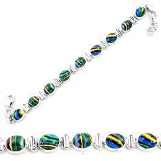 35.83cts natural multi color rainbow calsilica 925 silver tennis bracelet p70641