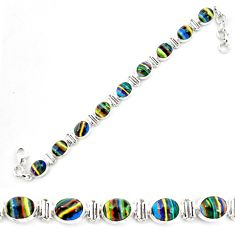 36.26cts natural multi color rainbow calsilica 925 silver tennis bracelet p70642