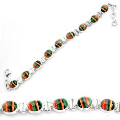 36.96cts natural multi color rainbow calsilica 925 silver tennis bracelet p70643