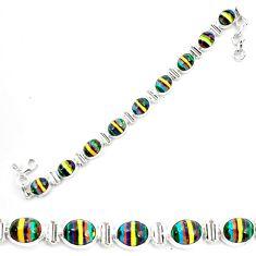 36.67cts natural multi color rainbow calsilica 925 silver tennis bracelet p70646
