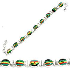 36.96cts natural multi color rainbow calsilica 925 silver tennis bracelet p70647