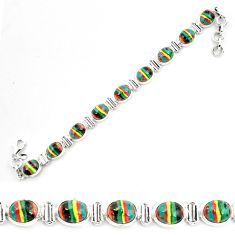 36.26cts natural multi color rainbow calsilica 925 silver tennis bracelet p70649