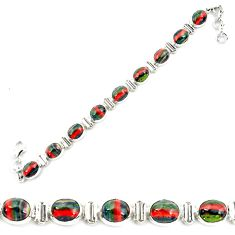 34.91cts natural multi color rainbow calsilica 925 silver tennis bracelet p70650