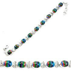 36.67cts natural multi color rainbow calsilica 925 silver tennis bracelet p70651