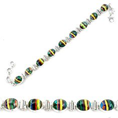36.26cts natural multi color rainbow calsilica 925 silver tennis bracelet p70652